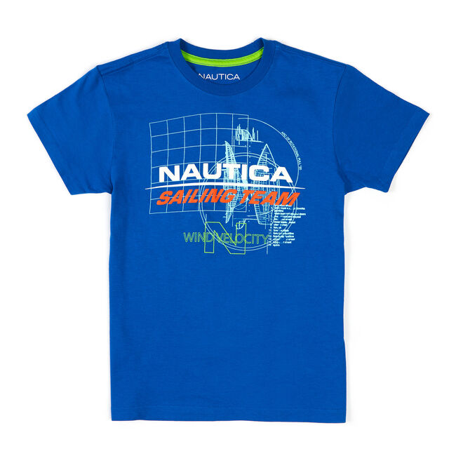 Little Boys' Sailing Team Graphic Tee (4-7),Clear Skies Blue,large
