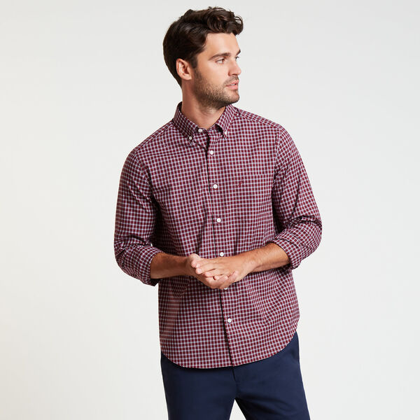 Wrinkle-Resistant Poplin Shirt in Plaid - Nantucket Red