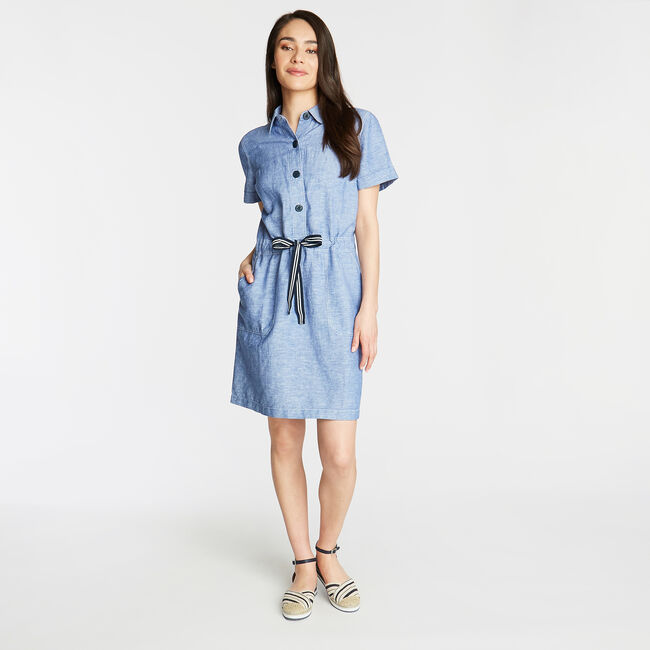 LINEN BLEND SHIRTDRESS,Bayberry Blue,large