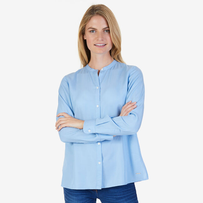 Tencel Band Collar Classic Fit Button Down,Double Navy,large