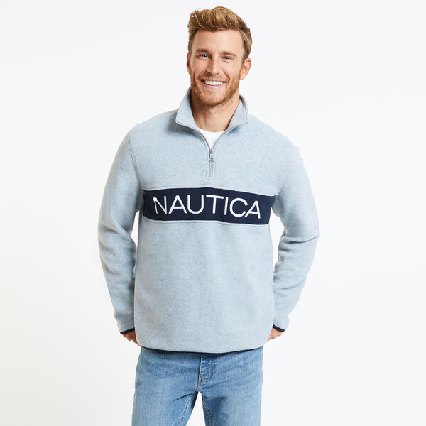 Chest Logo Nautex Quarter-Zip Active Pullover - Grey Heather