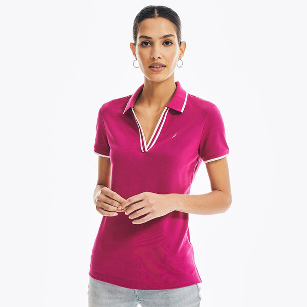SUSTAINABLY CRAFTED OCEAN SPLIT-NECK POLO - Oxford Pink