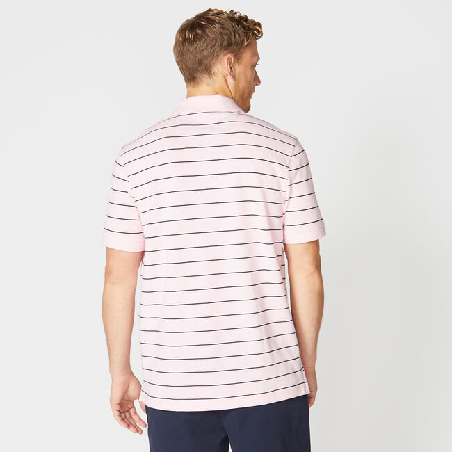 Classic Fit Mesh Polo in Breton Stripe,Orchid Pink,large