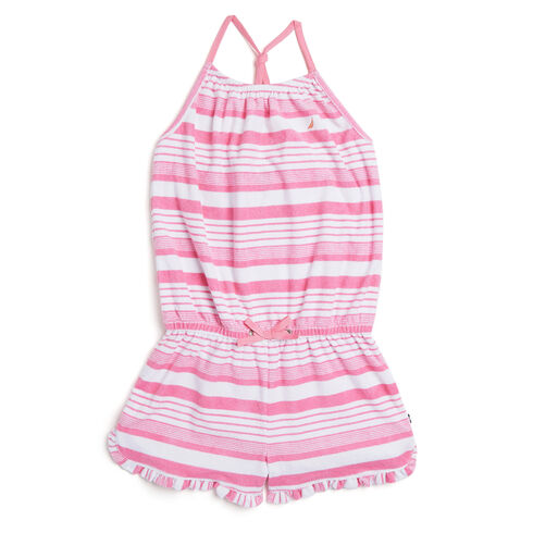 Toddler Girls' Striped Terry Romper (2T-4T) - Nautica Red Heather