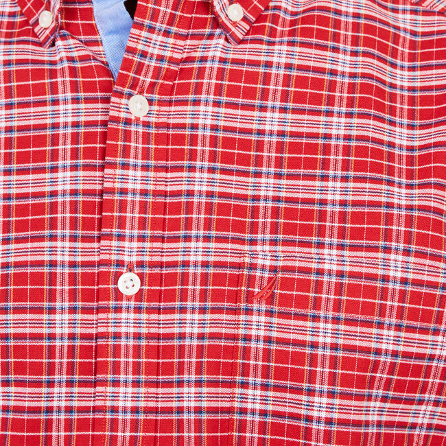 Classic Fit Multi-Plaid Long Sleeve Shirt,Rescue Red,large