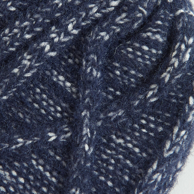 CABLE-KNIT CUFFED BEANIE,Navy,large