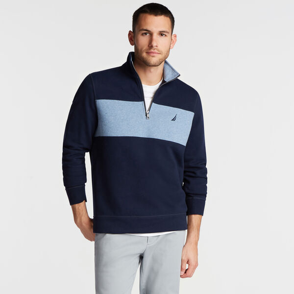 QUARTER-ZIP COLORBLOCK FLEECE PULLOVER - Navy