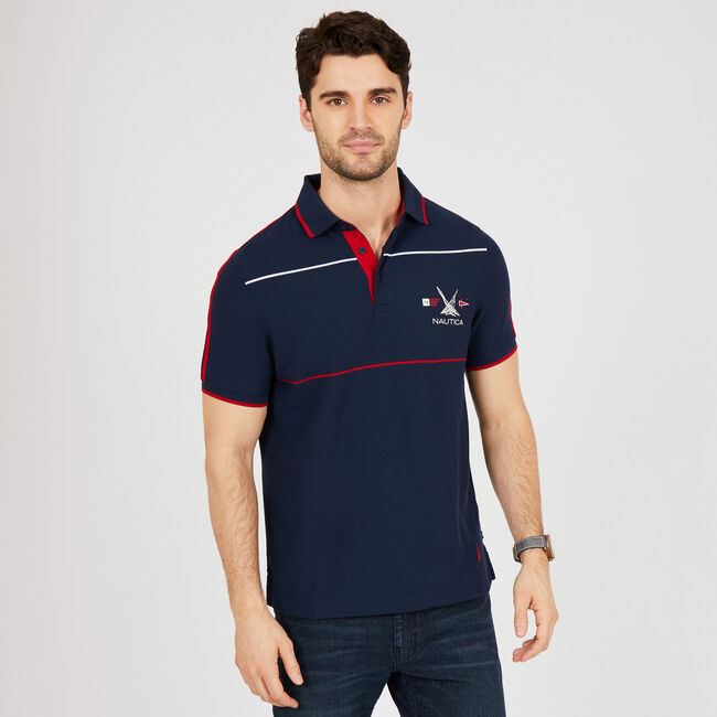 Slim Fit Short Sleeve Heritage Polo Shirt ,Navy,large