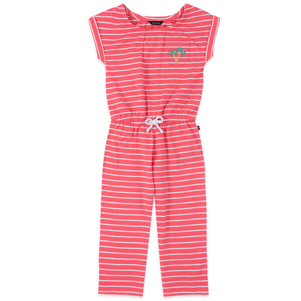 TODDLER GIRLS' STRIPED GLITTER-EMBELLISHED CROPPED JUMPSUIT (2T-4T) - Light Pink