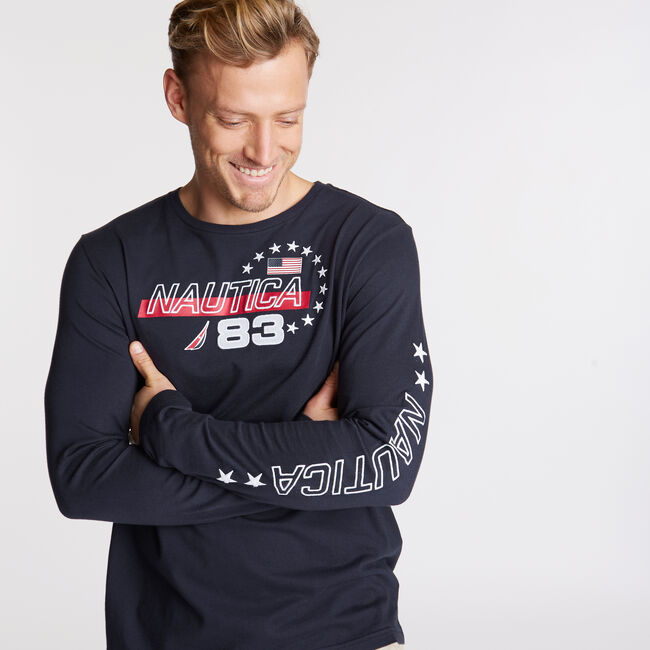 Long Sleeve USA Graphic T-Shirt,Navy,large