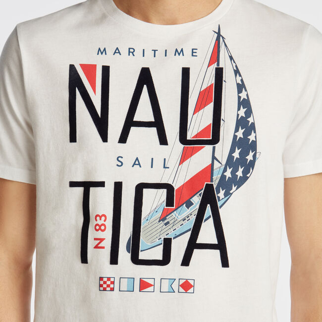 MARITIME SAIL GRAPHIC T-SHIRT,Bright White,large