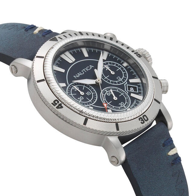 Fairmont Chronograph Watch with Leather Band,Multi,large