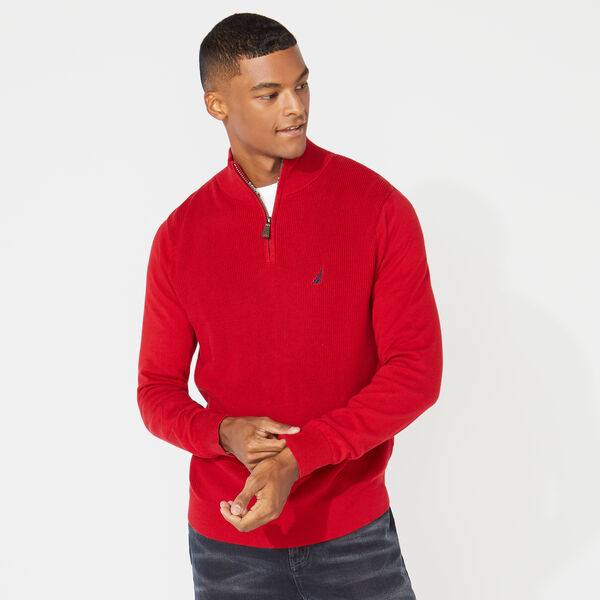QUARTER ZIP RIBBED FRONT SWEATER - Nautica Red