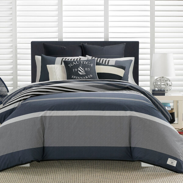 Rendon Charcoal Duvet Set - Navy