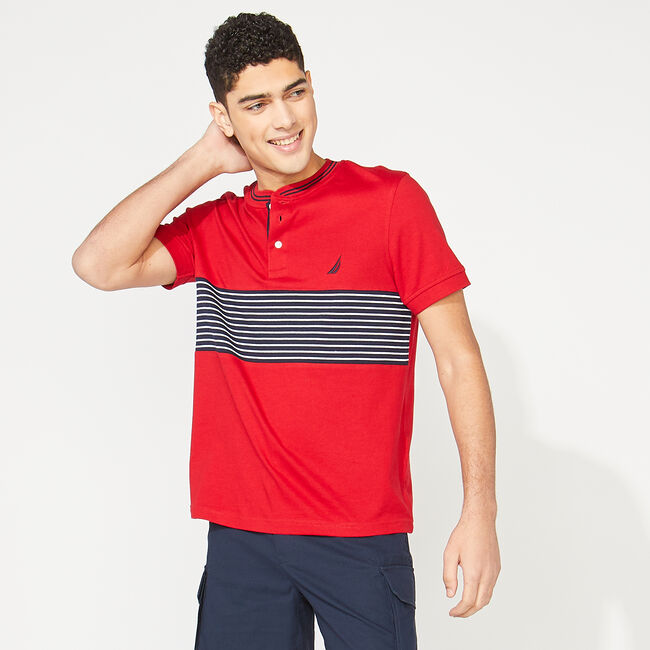 SLIM FIT STRIPE HENLEY,Nautica Red,large