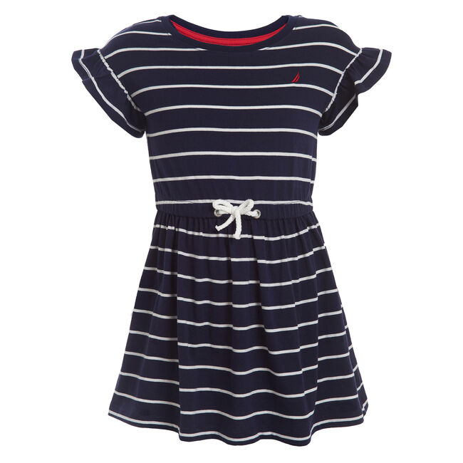 GIRL'S STRIPE KNIT JERSEY BOW DRESS (4 - 6),Navy,large