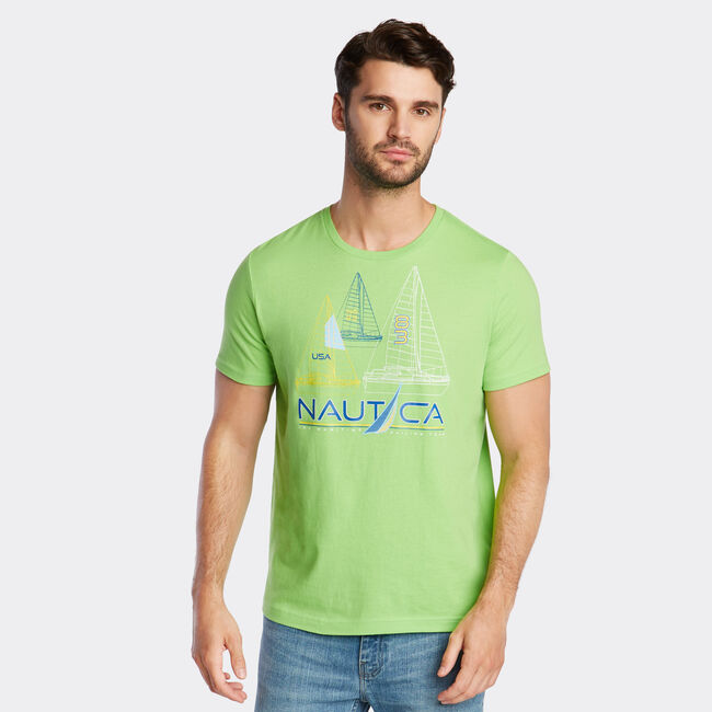 JERSEY T-SHIRT IN SAILBOAT GRAPHIC,Fresh Lime,large