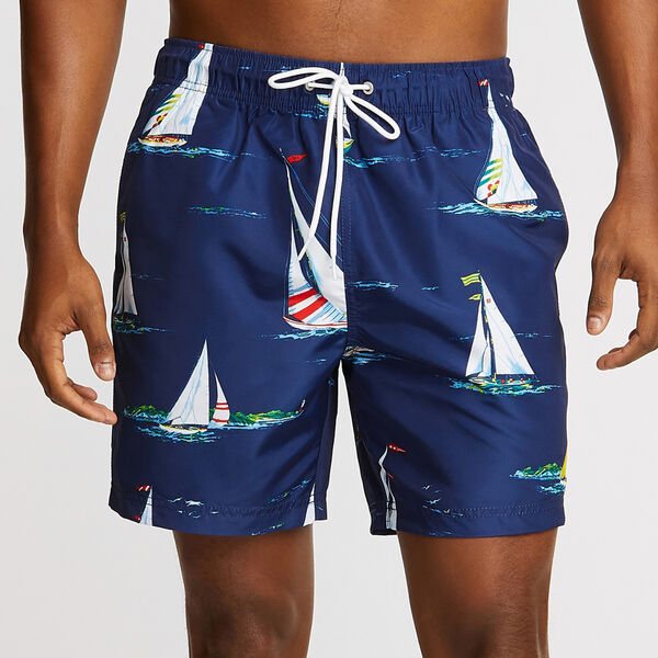 "6"" Full-Elastic Swim Short in Boat Motif - Blue Depths"