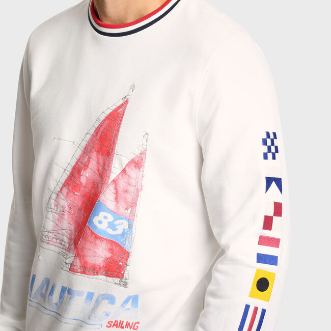 Artist Series Sailboat Crew Neck Sweatshirt,Sail White,large