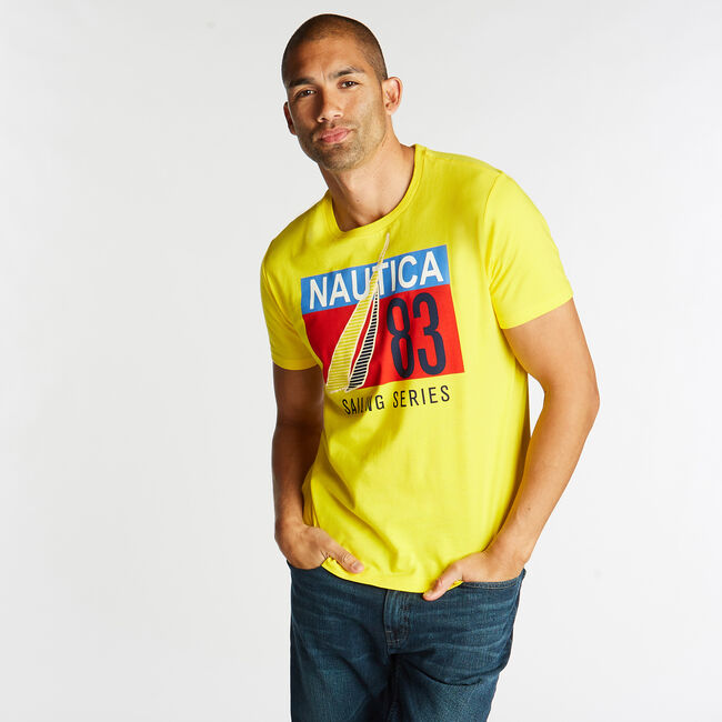 JERSEY T-SHIRT IN SAILING SERIES GRAPHIC,Yellow Zest,large