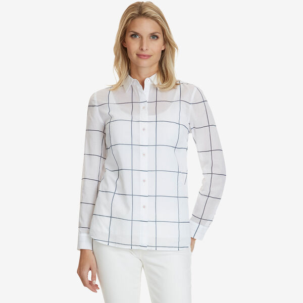 Windowpane Print Shirt - Bright White