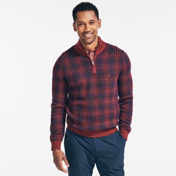 SUSTAINABLY CRAFTED PLAID QUARTER-ZIP SWEATER - Flamingo