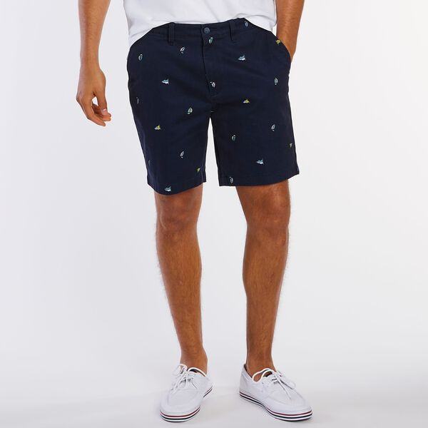 "Big & Tall Sailboat Flag Motif Classic Fit Deck Shorts - 8.5"" Inseam - Pure Dark Pacific Wash"