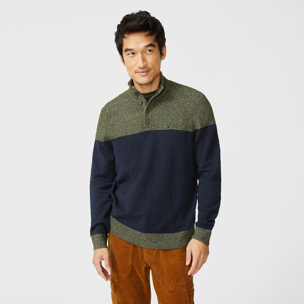 BIG & TALL SUSTAINABLY CRAFTED MOCK-NECK SWEATER - Navy