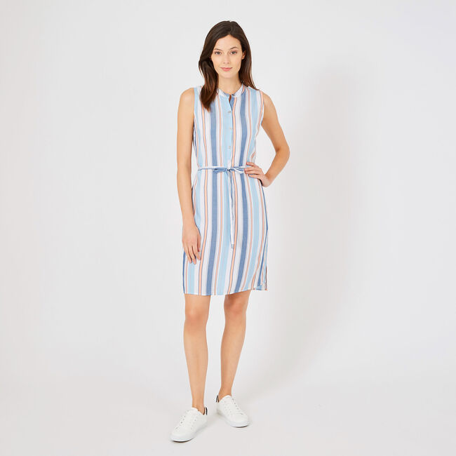 Yarn Dyed Stripe Shirtdress with Belt,Bright White,large