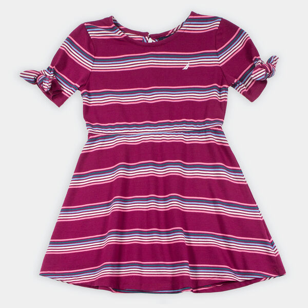 GIRLS' STRIPED DRESS (8-20) - Parfait Pink