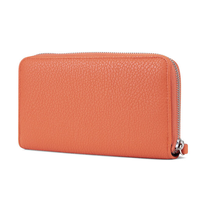 ZIP AROUND WRISTLET WITH REMOVABLE POUCH,Orange,large