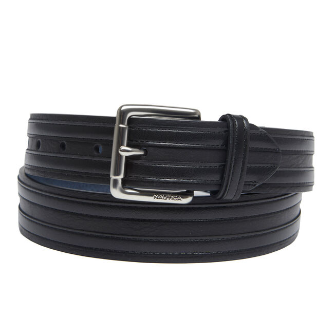 Double Overlay Casual Belt,True Black,large