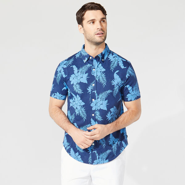 HARBOR SHIRT IN FLORAL KNIT COTTON - Estate Blue