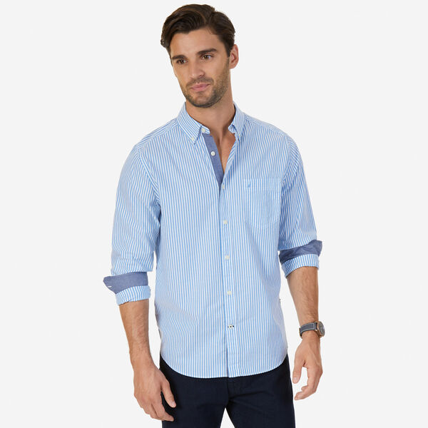 Stretch Poplin Bengal Stripe Classic Fit Button Down - Sport Navy
