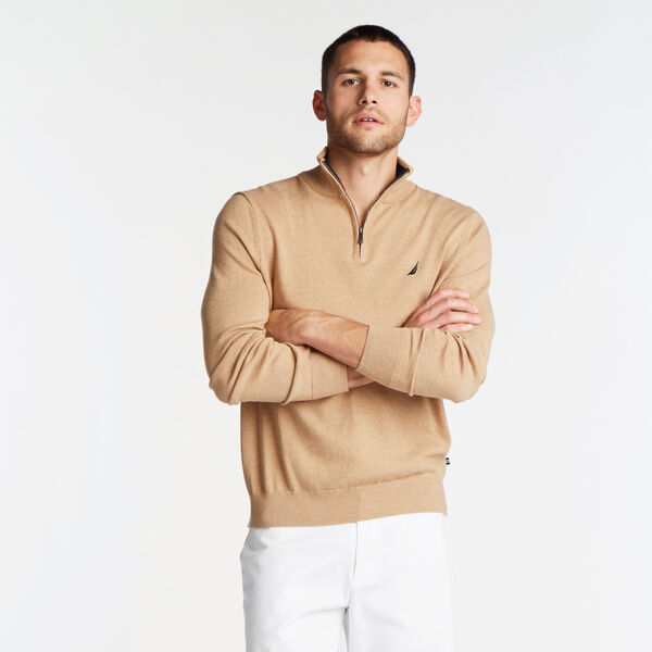 QUARTER ZIP NAVTECH SWEATER - Camel Heather