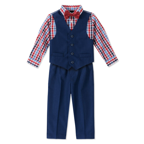 TODDLER BOYS' NAUTICA TONAL WINDOWPANE VEST SET (2T - 4T) - Sapphire/Pitch Yellow