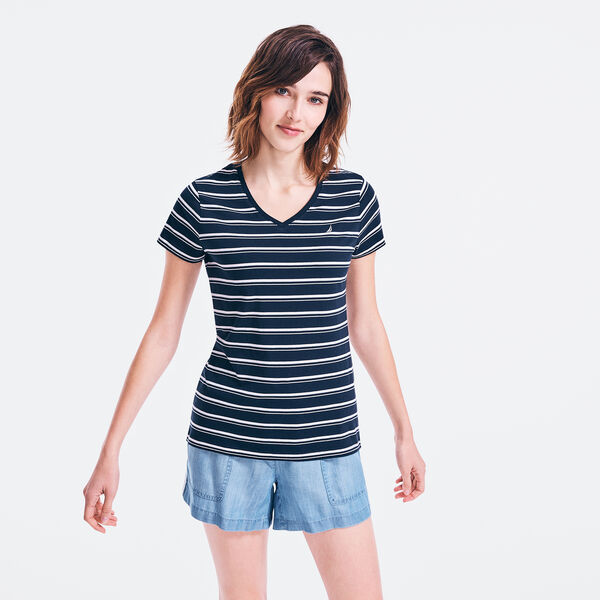 STRIPED J-CLASS V-NECK T-SHIRT - Stellar Blue Heather