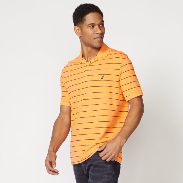Classic Fit Mesh Polo in Breton Stripe - Suncoast Orange