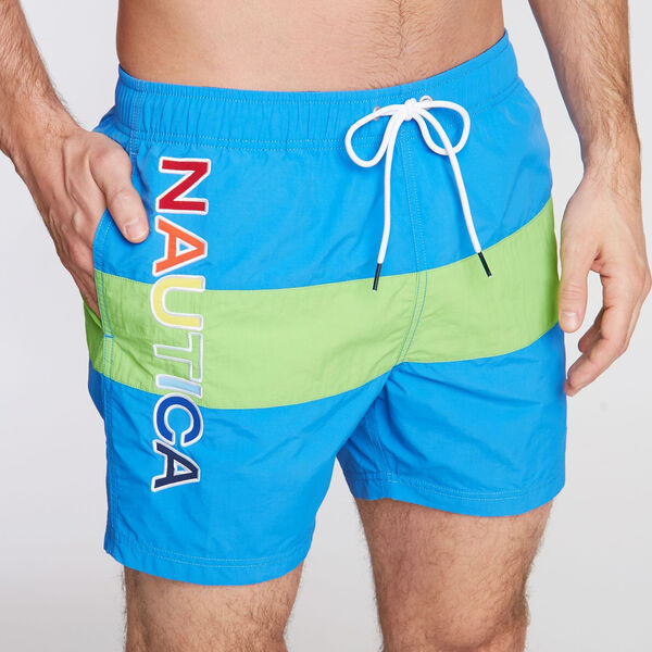 "6"" SWIM TRUNK IN COLORBLOCK - Reef Blue"