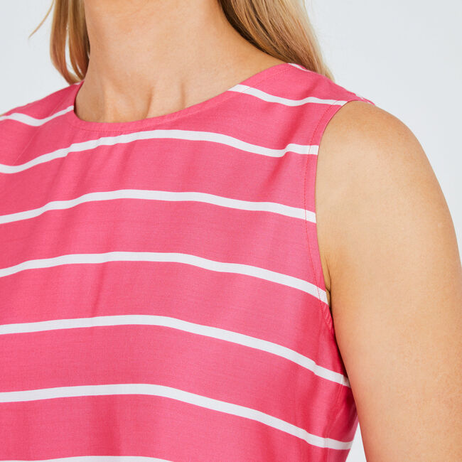 Sleeveless Flared Hem Striped Top,Downhill Red,large