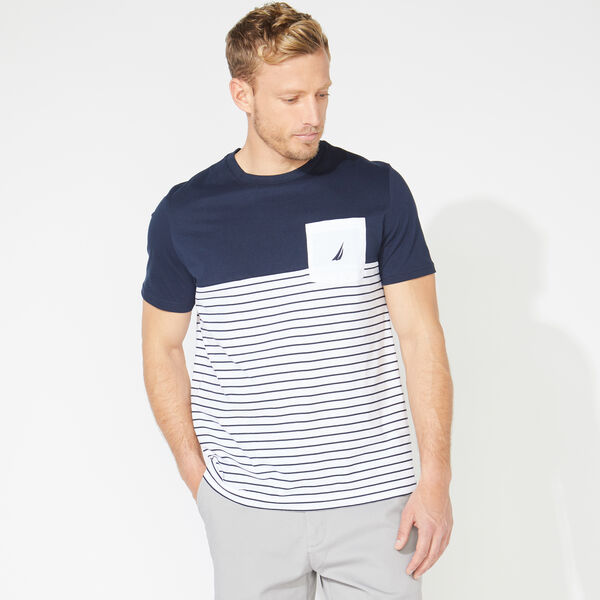 STRIPED COLORBLOCK POCKET T-SHIRT - Bright White