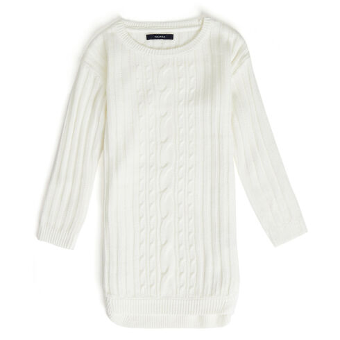 Little Girls' Long Sleeve Cable-Knit Sweater Dress (4-6X) - Bright White