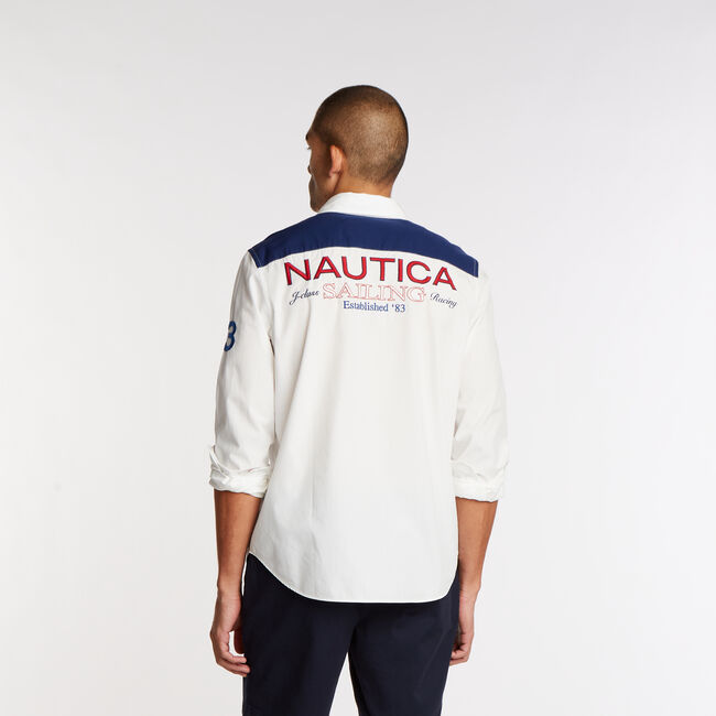 Logo Long Sleeve Classic Fit Shirt,Sail White,large