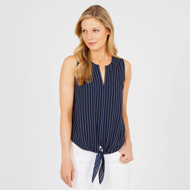 Pinstripe Tie-Front Sleeveless Top,Deep Sea,large
