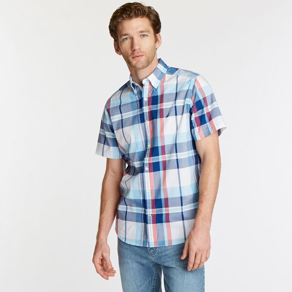 NAVTECH CLASSIC FIT SHORT SLEEVE PLAID SHIRT - Bright White