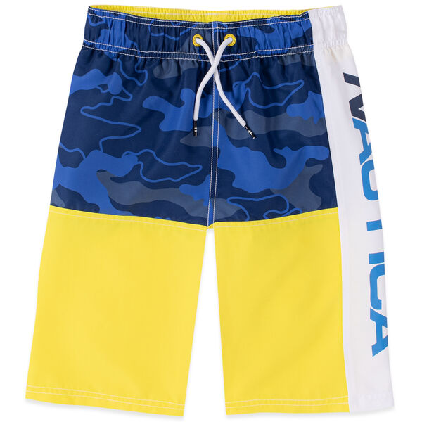 LITTLE BOYS' ZACH CAMOUFLAGE LOGO SWIM TRUNK (4-7) - Marigold