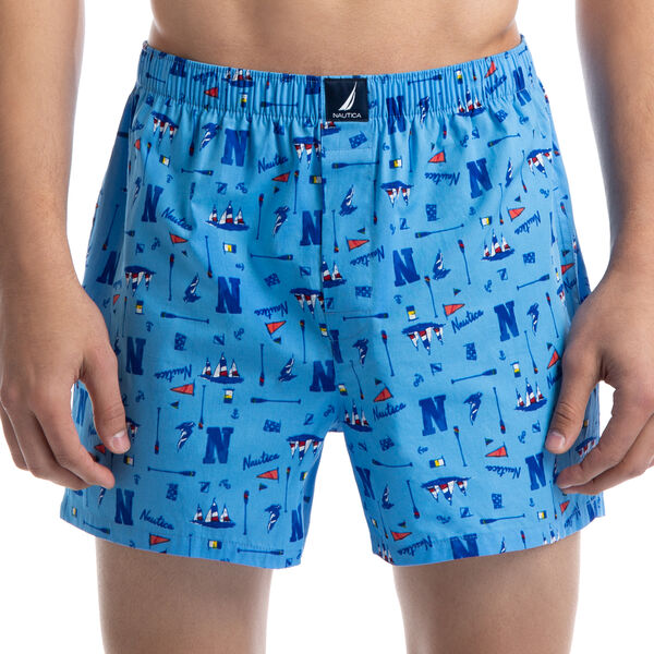 STRETCH OAR PRINT BOXERS - Azure Blue