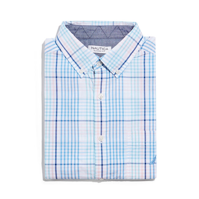 CLASSIC FIT SHIRT IN PASTEL PLAID,Azure Blue,large