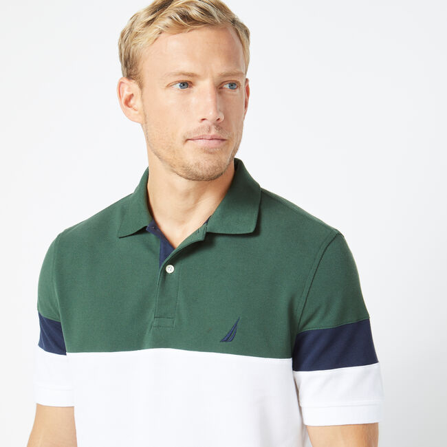 CLASSIC FIT KNIT COLORBLOCK POLO,Bright White,large