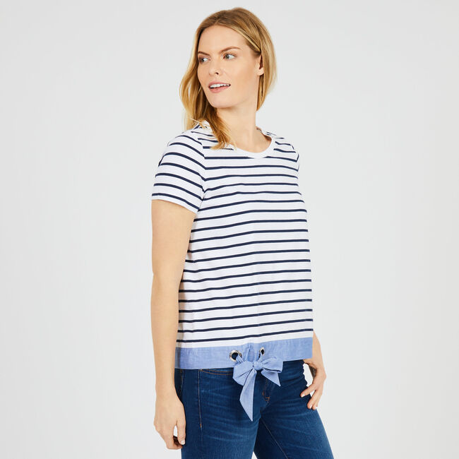 Short Sleeve Striped Top with Bow,Bright White,large